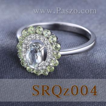 แหวนพลอยเพอริดอท แหวนล้อมเพชร แหวนเงินแท้ #5