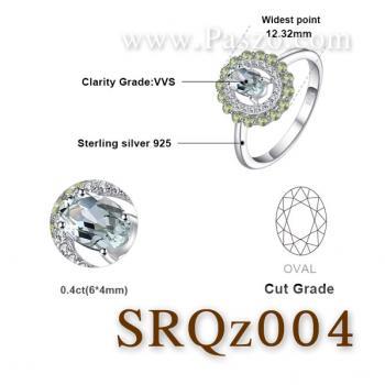 แหวนพลอยเพอริดอท แหวนล้อมเพชร แหวนเงินแท้ #2
