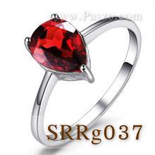 แหวนพลอยโกเมน พลอยหยดน้ำ พลอยเม็ดเดี่ยว แหวนเงินแท้ พลอยสีแดง