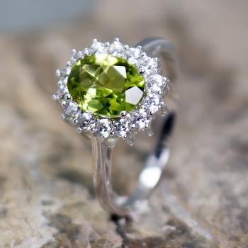 แหวนพลอยเพอริดอท แหวนล้อมเพชร แหวนเงินแท้ #6