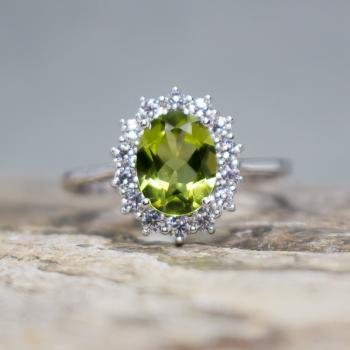 แหวนพลอยเพอริดอท แหวนล้อมเพชร แหวนเงินแท้ #9