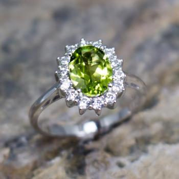 แหวนพลอยเพอริดอท แหวนล้อมเพชร แหวนเงินแท้ #8