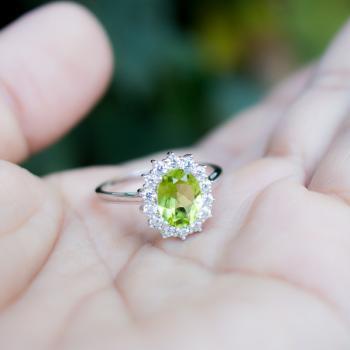 แหวนพลอยเพอริดอท แหวนล้อมเพชร แหวนเงินแท้ #7
