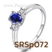 แหวนพลอยไพลิน ประดับเพชร แหวนเงินแท้ พลอยสีน้ำเงิน