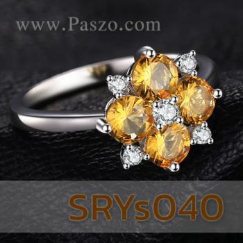 แหวนพลอยบุษราคัม แหวนดอกไม้ ประดับเพชร #3