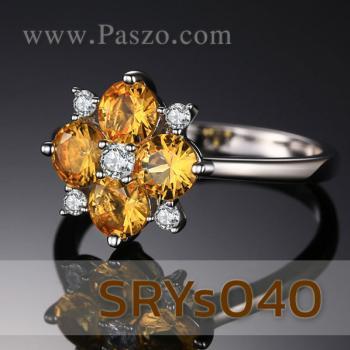 แหวนพลอยบุษราคัม แหวนดอกไม้ ประดับเพชร #5