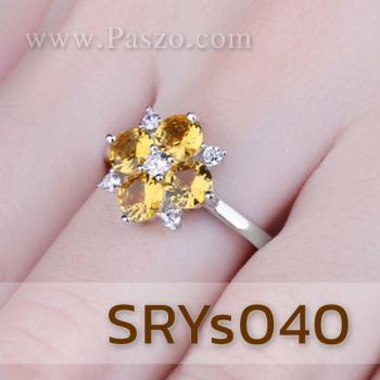 แหวนพลอยบุษราคัม แหวนดอกไม้ ประดับเพชร #4