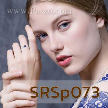 แหวนพลอยไพลิน ประดับเพชร พลอยเม็ดกลม #4