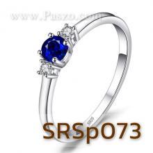 แหวนพลอยไพลิน ประดับเพชร พลอยเม็ดกลม แหวนเงินแท้ พลอยสีน้ำเงิน