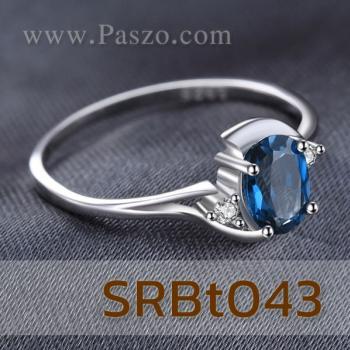 แหวนพลอยสีฟ้า แหวนพลอยบลูโทพาซ ประดับเพชร #3