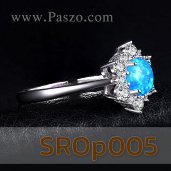แหวนพลอยโอปอล์ สีฟ้า ล้อมเพชร #3