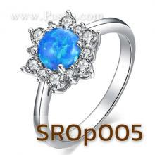 แหวนพลอยโอปอล์ สีฟ้า ล้อมเพชร แหวนเงินแท้
