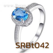 แหวนพลอยสีฟ้า บลูโทพาซ แหวนเงินแท้ พลอยสีฟ้า