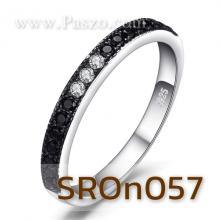 แหวนนิล ประดับเพชร แหวนพลอยแถว พลอยสีดำ แหวนเงินแท้