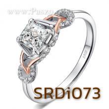 แหวนเพชร แหวนเงิน ฝังเพชร สี่เหลี่ยม ชุปพิงค์โกล์ด
