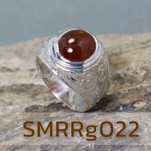 แหวนโกเมนผู้ชาย แหวนผู้ชายเงินแท้ แหวนทรงมอญ แกะลายไทย ฝังพลอยสีแดงเข้ม แหวนเงิน แหวนผู้ชาย