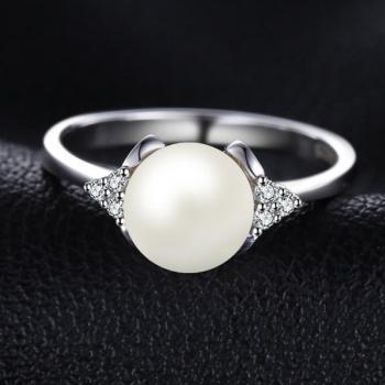 แหวนไข่มุก ประดับเพชร แหวนเงินแท้ #4