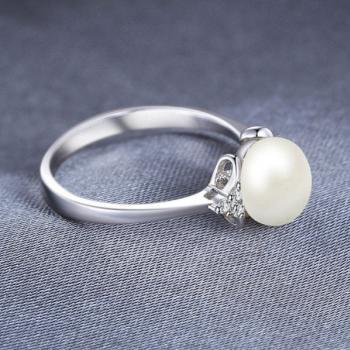 แหวนไข่มุก ประดับเพชร แหวนเงินแท้ #2