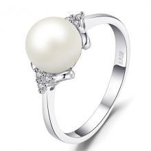 แหวนไข่มุก ประดับเพชร แหวนเงินแท้ แหวนผู้หญิง