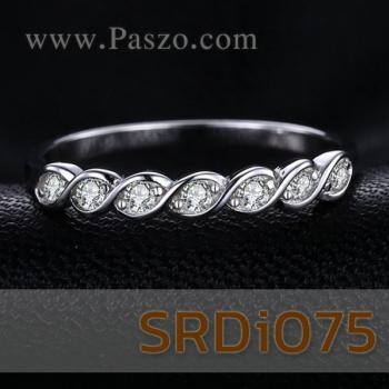 แหวนเพชร พลอย7เม็ด แหวนเงินแท้ #5