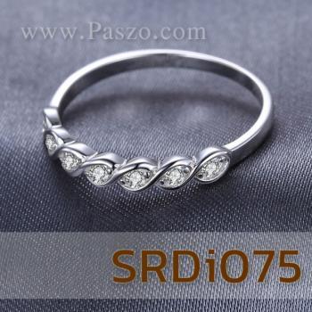 แหวนเพชร พลอย7เม็ด แหวนเงินแท้ #3