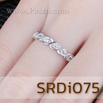 แหวนเพชร พลอย7เม็ด แหวนเงินแท้ #4