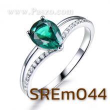 แหวนพลอยมรกต พลอยทรงหยดน้ำ ประดับเพชร แหวนเงินแท้ พลอยสีเขียว