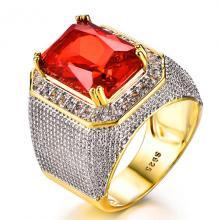 แหวนผู้ชาย ทับทิม แหวนทองชุบ พลอยสีแดง เม็ดสี่เหลี่ยม ล้อมเพชร