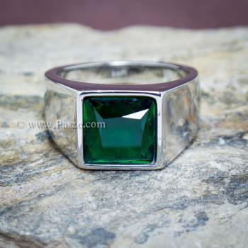 แหวนสแตนเลส แหวนพลอยสีเขียว พลอยเม็ดสี่เหลี่ยม #7