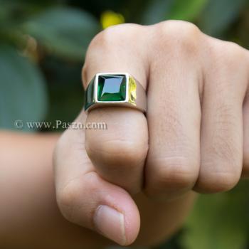 แหวนสแตนเลส แหวนพลอยสีเขียว พลอยเม็ดสี่เหลี่ยม #6