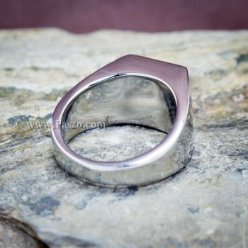 แหวนสแตนเลส แหวนพลอยสีเขียว พลอยเม็ดสี่เหลี่ยม #8