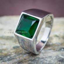แหวนสแตนเลส แหวนพลอยสีเขียว พลอยเม็ดสี่เหลี่ยม แหวนผู้ชาย