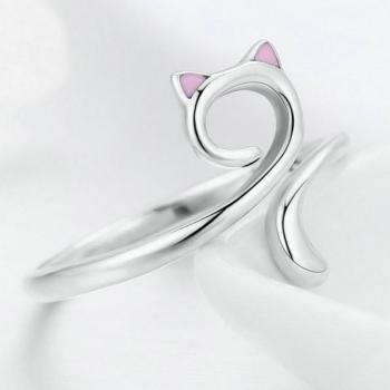 แหวนแมว แหวนปรับขนาดได้ แหวนเงิน #2