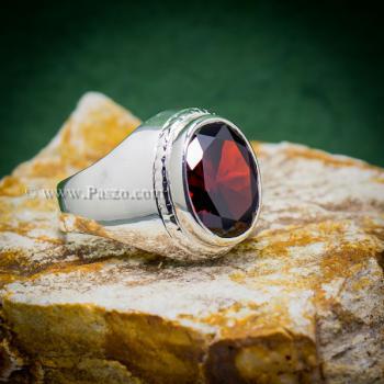 แหวนผู้ชาย แหวนโกเมน แหวนเงินแท้ #4