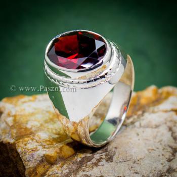 แหวนผู้ชาย แหวนโกเมน แหวนเงินแท้ #2