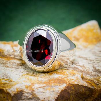 แหวนผู้ชาย แหวนโกเมน แหวนเงินแท้ #3