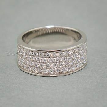 แหวนเพชร แหวนเงิน ฝังเพชร5แถว #3