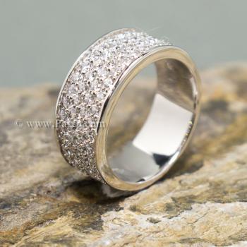 แหวนเพชร แหวนเงิน ฝังเพชร5แถว #2