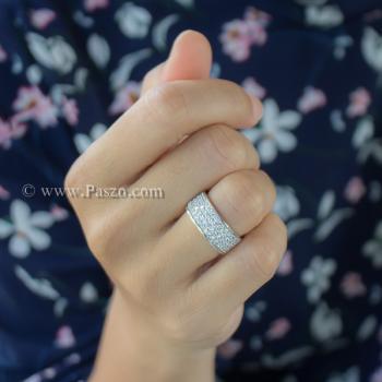 แหวนเพชร แหวนเงิน ฝังเพชร5แถว #4
