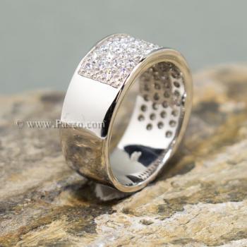 แหวนเพชร แหวนเงิน ฝังเพชร5แถว #5