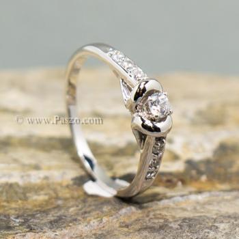 แหวนเพชร แหวนผู้หญิง แหวนเงินแท้ #3