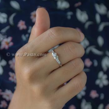แหวนเพชร แหวนผู้หญิง แหวนเงินแท้ #4