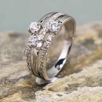 แหวนเพชร แหวนทรงสามแถว แหวนเงินแท้ #4