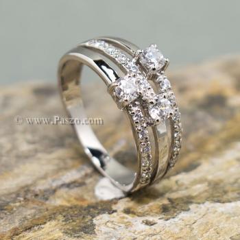 แหวนเพชร แหวนทรงสามแถว แหวนเงินแท้ #2