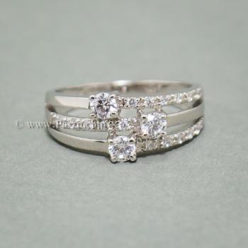 แหวนเพชร แหวนทรงสามแถว แหวนเงินแท้ #5