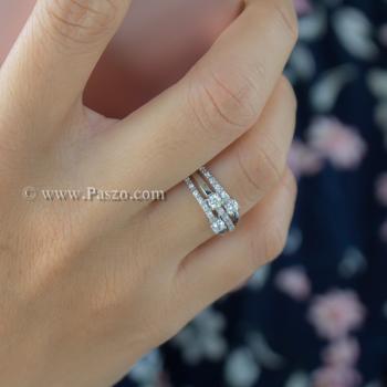 แหวนเพชร แหวนทรงสามแถว แหวนเงินแท้ #3