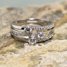 แหวนเพชร แหวนทรงสามแถว แหวนเงินแท้