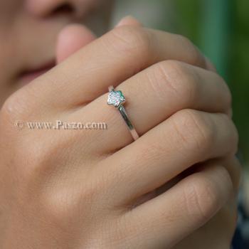 แหวนเพชร รูปดาว แหวนเงินแท้ #3