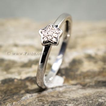 แหวนเพชร รูปดาว แหวนเงินแท้ #4