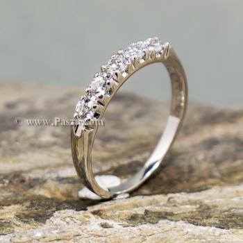 แหวนเพชร พลอย5เม็ด แหวนเงินแท้ #2
